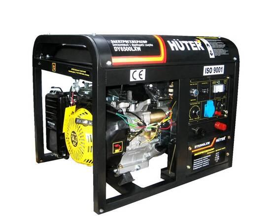 Электрогенератор Huter DY6500LXW с функцией сварки, с колёсами