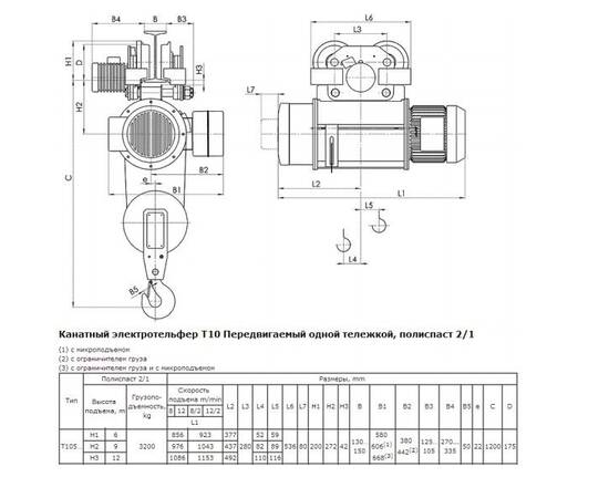 Балканско Эхо Т10 (3.2 т, 6 м) тип 13T10516 Таль электрическая