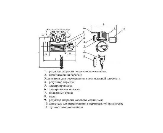 Таль электрическая TOR CD г/п 1,0 т 6 м